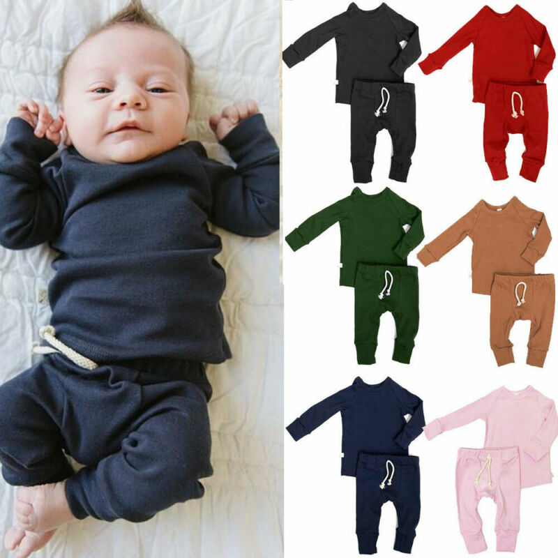 0-24M Newborn Infant Baby Girls Clothing Set Autumn Spring Long Sleeve Tops + Pants Soft Outfits Baby Costumes Solid