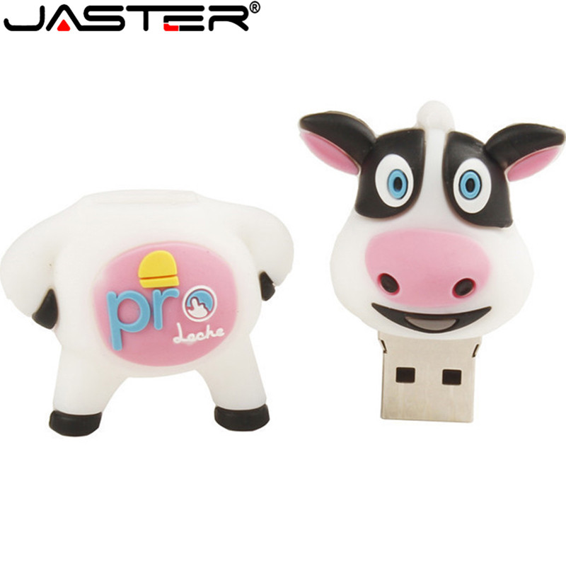 JASTER New Cute Dairy Cow Usb Flash Drive Cow Pendrive 4GB 8GB 16GB 32GB 64GB Memory Stick U Disk