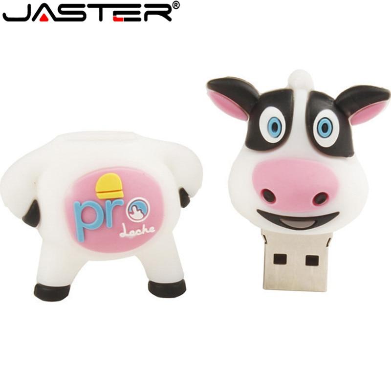 JASTER New Cute Dairy Cow Usb Flash Drive Cow Pendrive 4GB 8GB 16GB 32GB 64GB Memory Stick U Disk