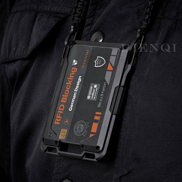 DIENQI Rfid Metal Credit Card Holder Men Tactical lanyards id badge holder Credential Cardholder Case Smart Minimalist Wallet 2