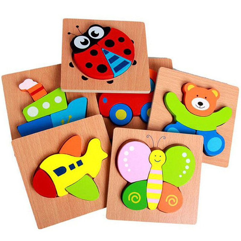 Wooden 3D Puzzle Jigsaw Board Montessori Educational Toys For Children Brain Teaser Puzzle Teaching Aids Intelligence Toys