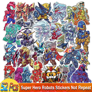 52 Pcs/Lot Super Hero Robots Cosplay Stickers for Cool Mechanic Cartoon Anime Sticker to DIY Luggage Laptop Guitar Bike Phone