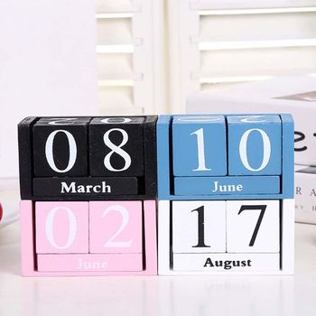 Vintage Wooden Perpetual Calendar Eternal Blocks Month Date Display Desktop Accessories Photography Props Home Office Decoration цена 2017