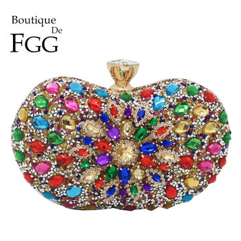 Boutique De FGG Multicolored Diamond Women Clutch Evening Bags Bridal Crystal Flower Handbags Purses Wedding Party Dinner Bag green crystal diamond flower floral purse fashion wedding bridal hollow metal evening purses clutch bag case box handbag female