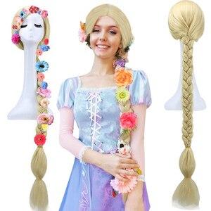 Image 2 - Anogol متشابكة الأميرة رابونزيل طويل مستقيم مضفر شقراء الشعر الاصطناعية ستة الزهور تأثيري حلي الباروكات ل هالوين