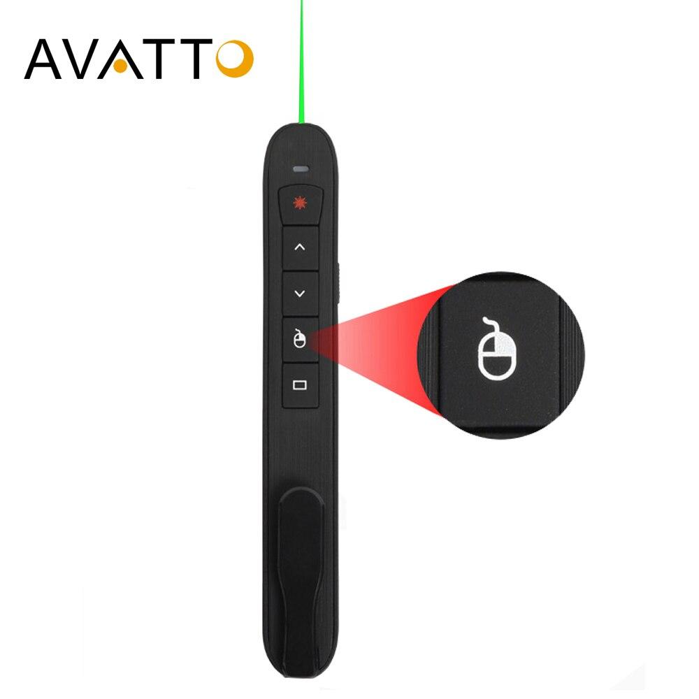 Avatto rechargable 2.4g ponteiro de apresentação a laser sem fio com mouse de ar, caneta de controle remoto ppt clicker apresentador de powerpoint