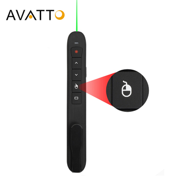 AVATTO Rechargable 2.4G Wireless laser presentation Pointer with Air Mouse, PowerPoint Presenter Remote Control PPT Clicker Pen