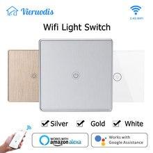 Wifi חכם קיר מגע אור מתג זכוכית לוח האיחוד האירופי סטנדרטי נייד APP שלט לעבוד עם Alexa Google בית עבור tuya