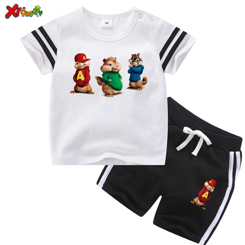Children Clothing <font><b>Set</b></font> Boys Summer Clothes boy shorts <font><b>set</b></font> Chipmunks Sports Sleeve <font><b>Tshirt</b></font> + Shorts 2 pcs <font><b>Set</b></font> <font><b>Baby</b></font> Girl <font><b>Set</b></font> cartoon image