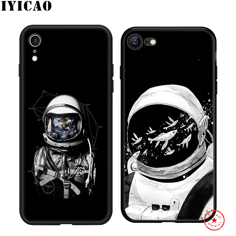 IYICAO Space Astronaut Moon Soft Phone Case for iPhone 11 Pro XR X XS Max 6 6S 7 8 Plus 5 5S SE Silicone TPU 7 Plus in Fitted Cases from Cellphones Telecommunications