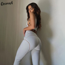 OrangeA Women Tracksuit Striped Ribbed Two Piece Set Tank Top Sporty Leggings Matching Fitness Casual Elastic Streetwear Outfits
