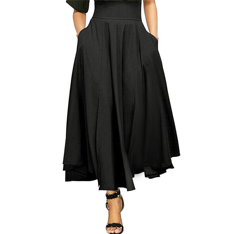 Plus Size S-4XL Empire Ankle-Length Skirt ZOGAA Women High Waist A-line Skirt Solid Long Skirt Pleated A Line Front Slit Belted