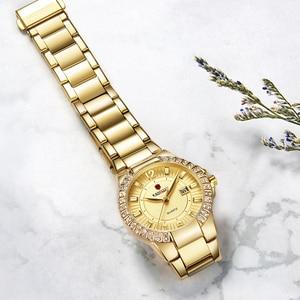 Image 2 - 2019 frauen Luxus Kleid Uhr Kristalle Zirkon Damen Uhren Wasserdicht Voller Stahl TOP Marke Weibliche Armbanduhr Neue Mode Party