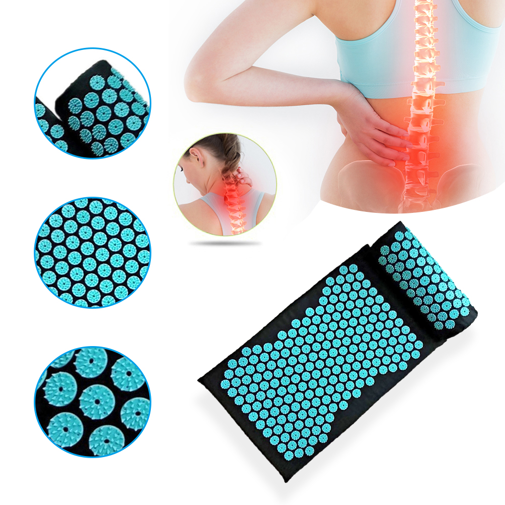 Massager Cushion Mat Pillow Yoga Mat Acupressure Relieve Back Relieve Body Pain Spike Mat Acupuncture Massage Mat With Pillow