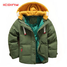 Army Green Boys Down Cotton Parkas 2019 Winter Girls Hooded Coats Children Warm Outwear for Toddler Younger 2 3 4 5 6 7 8 Year(China)