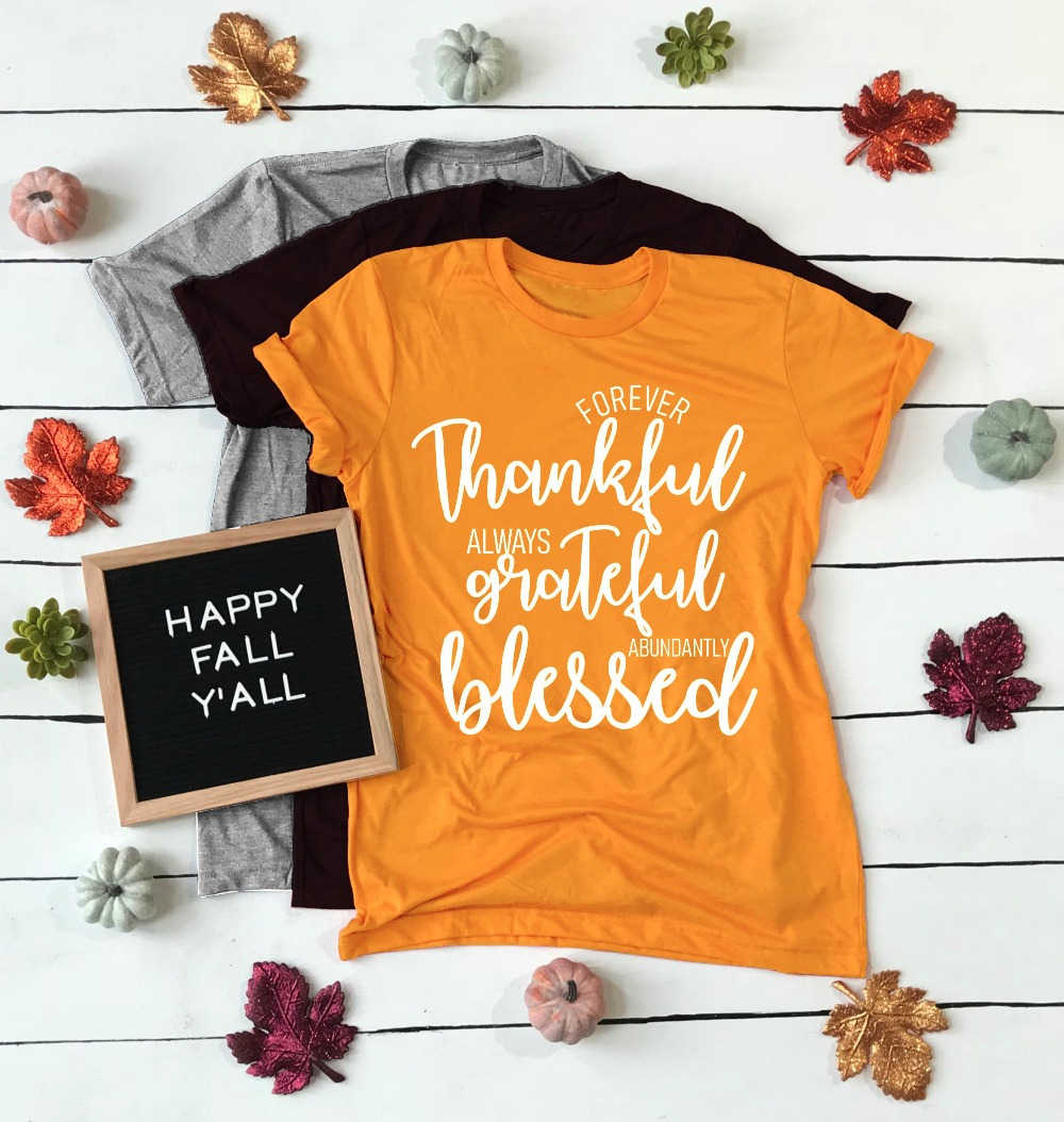 Sempre Grato Sempre Grato Assoluto Benedetto T-Shirt Delle Donne di Modo di Slogan Christian Gesù Cotone Bibbia Tee Shirt-J809