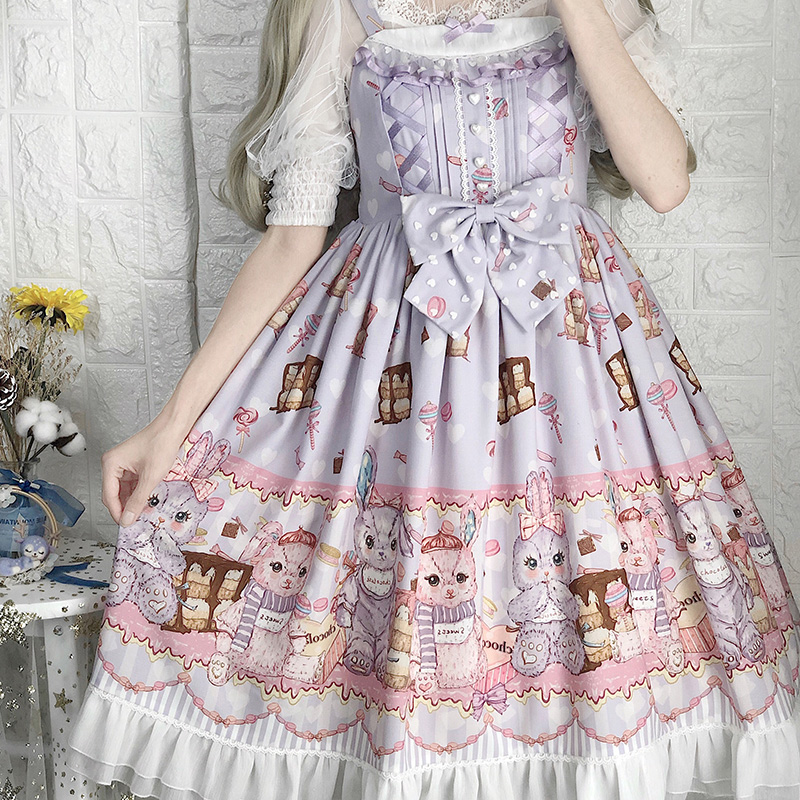 Sweet Princess Lolita Dress Retro Lace Bowknot Cute Printing High Waist Victorian Dress Kawaii Girl Tea Party Gothic Lolita Jsk