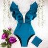 Deep V-neck One Piece Swimsuit  1