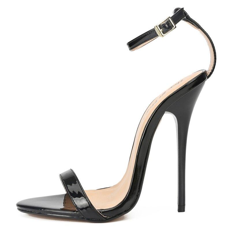 ハイヒールサンダル夏の靴女性のセクシーな 13 センチメートル薄型ハイヒール女装バックルパンプス Exegang zapatos mujer プラス: 37 49 50  グループ上の 靴 からの ハイヒール の中 2