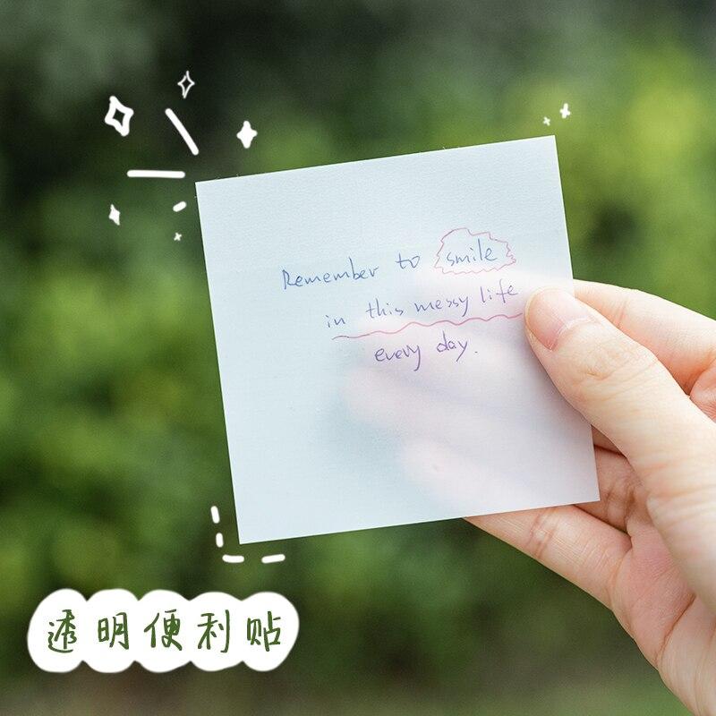 Прозрачные клейкие заметки Yoofun, 50 листов в упаковке, украшение для студентов, учебников, блокноты для записей, офисные и школьные принадлежн...