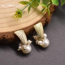 GLSEEVO Natural Fresh Water White Pearl Boho Dangle Earrings For Women Handmade Ethnic Earrings Fine Jewelry Moda Mujer GE0460