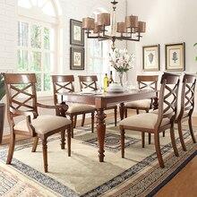 Деревянный современный обеденный стол с длинным обеденным столом и мягким обеденным стулом, мебель для столовой WA643