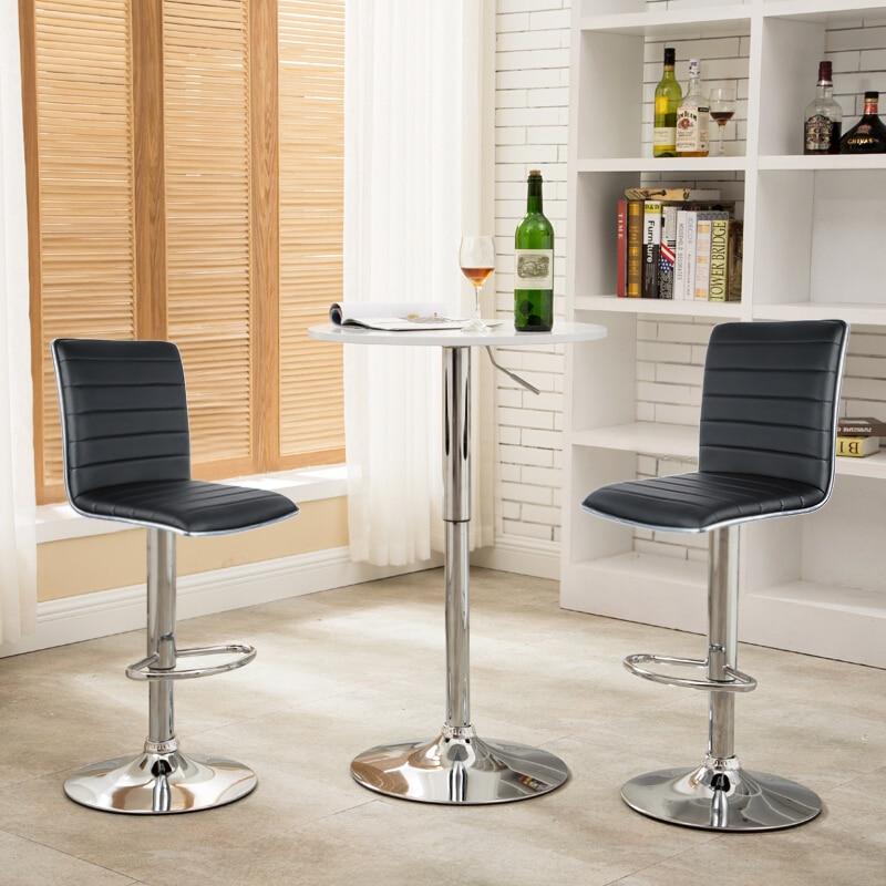 2PCS Bar Chairs Bar Stool Chair Kitchen Black Color Swivel Bar Breakfast Stool Adjustable Home Furniture Modern European Rotated