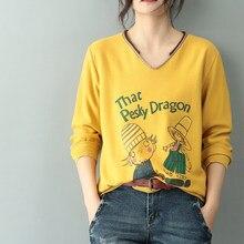 Impressão dos desenhos animados de malha camisola feminina outono v pescoço algodão solto camisolas pulôver inverno mulher roupas 2020 inverno puxar femme