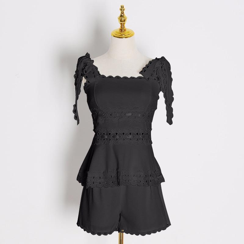 CHICEVER, conjunto de dos piezas de encaje hueco, chaleco sin mangas de cuello cuadrado para mujer, Chaleco corto de cintura alta, trajes de Moda de Primavera 2020 para mujer - 3