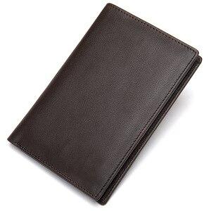 2020 мужские кошельки из натуральной кожи с обложкой для паспорта, винтажный короткий кошелек из воловьей кожи, кошелек, кредитный держатель ...