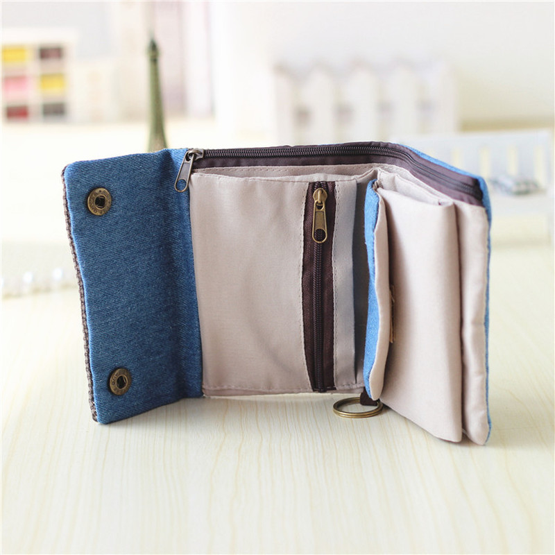 2019 Women Cotton Fabric Short Wallet For Female Large Capacity Gray Blue Ladies Denim Multifunction Men Purse Mini Carteira