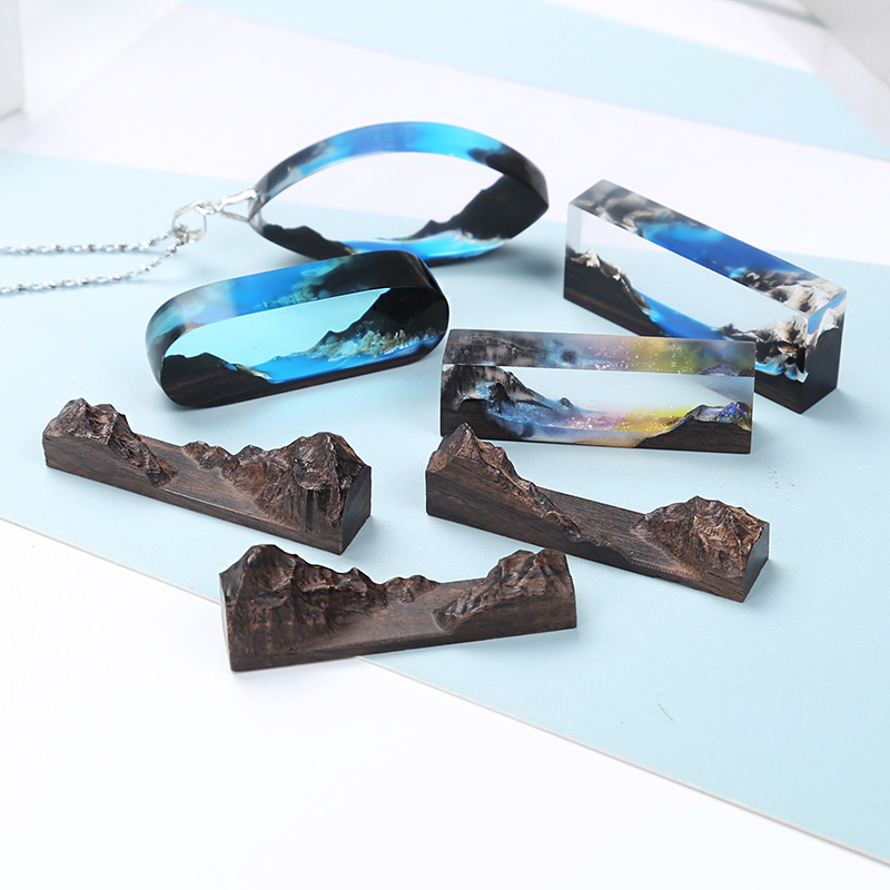 Handmade DIY Crystal Epoxy Resin Molds Mountain Peaks Landscape Wood Bracelet Pendant