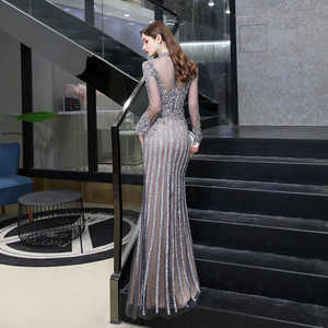 Image 2 - Dubai Luxury Mermaid Evening Dress 2020 Gorgeous Gray High Neck Beaded Beading Rhinestones Crystal Long Sleeve Formal Gown