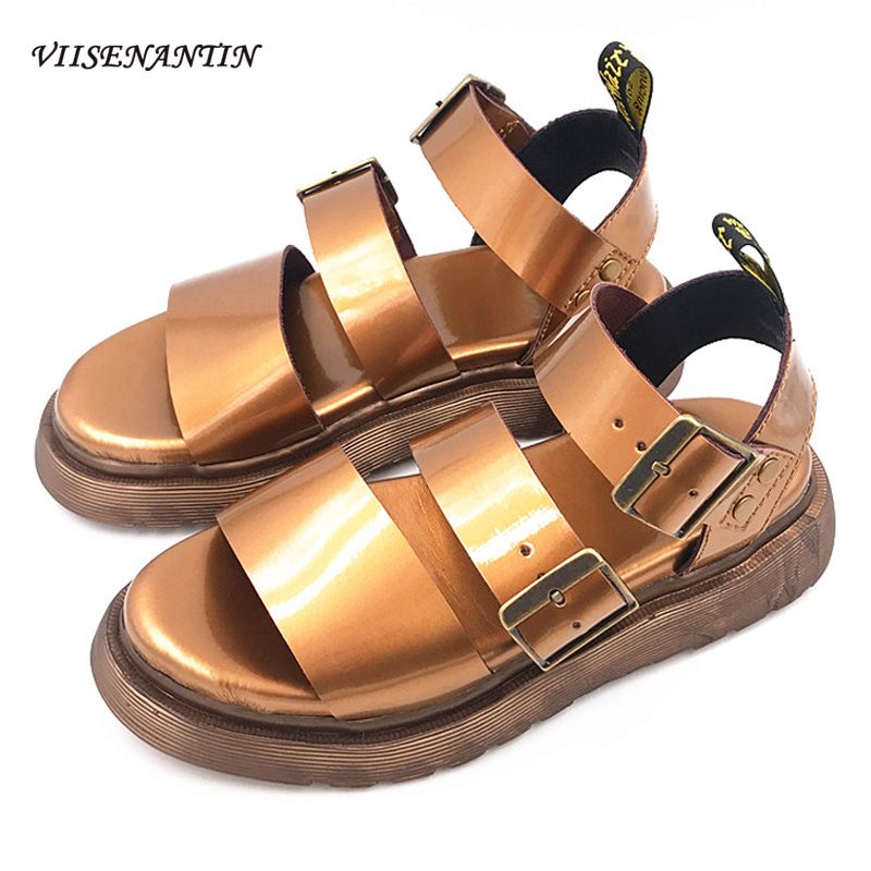 Martin Sandals Women's Flat-bottomed Leather Students Double Buckle Roman Shoes College Style...