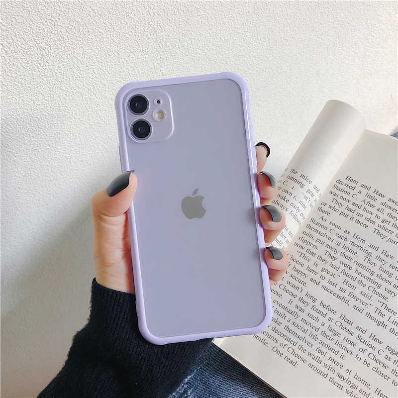 Matte Tansparent Bumper Shockproof Phone Case Voor Iphone11 Pro Max Xr Xs Max 7 8 Plus SE2020 Translucent Clear Scrub back Cover
