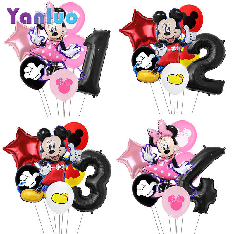 7 Stks/partij Minnie Ballonnen Mickey Mouse Verjaardagsfeestje Decoraties Baby Shower Decor Kids Party Mickey Ballon Lucht Globos