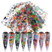 10 Pcs/Pack Halloween Series Nail Foils Stickers Mixed Pattern Pumpkin Decals Transfer Stickers DIY Nail Art Decoration Tool