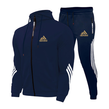 2021Spring And Autumn Brand Fashion Men's Sets Two-piece Striped Sportswear Men's Hooded Top Outdoor Sports Pants Tracksuit Suit 4