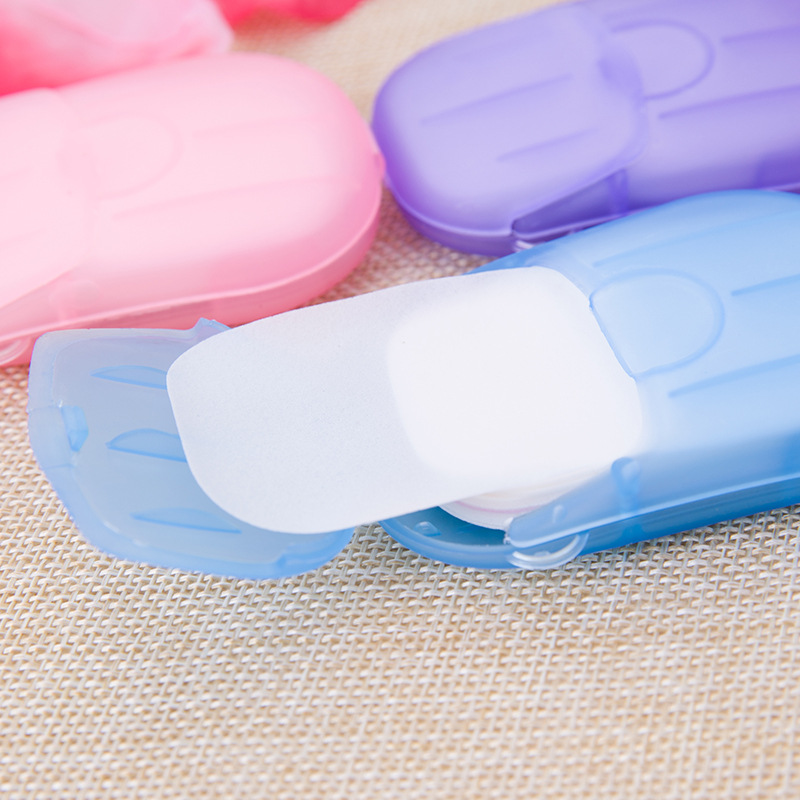 20PCS Disposable Boxed Soap Paper Box Mini Paper Portable Washing Hand Bath Soap Flakes Scented Slice Sheets Foaming Box Paper