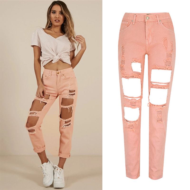 2019 New Women Fashion Straight Jeans Woman Casual Ripped Hole Jeans High Waist Loose Denim Pants Streetwear Trousers Female