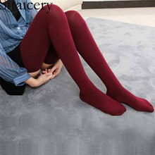 Sitaicery Womens Stockings Autumn Winter New 80cm Elastic Long Socks Fashion Cotton Warm Thigh High Over The Knee Female