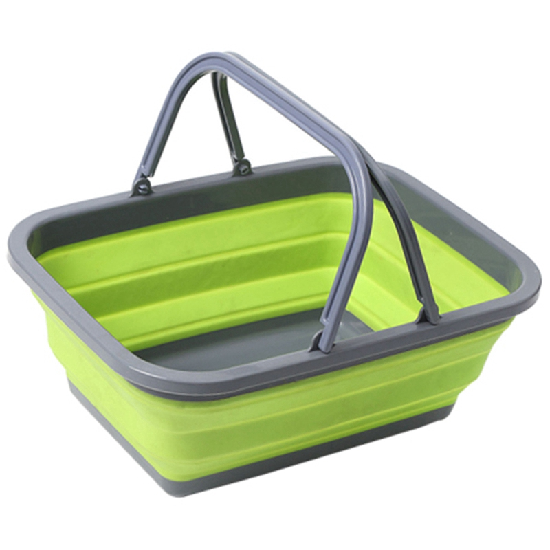 Portable Folding Plastic Square Bucket Cleaning Tools Laundry Basket Water Storage Basin Vegetable Fruits Basket Accessories Gre