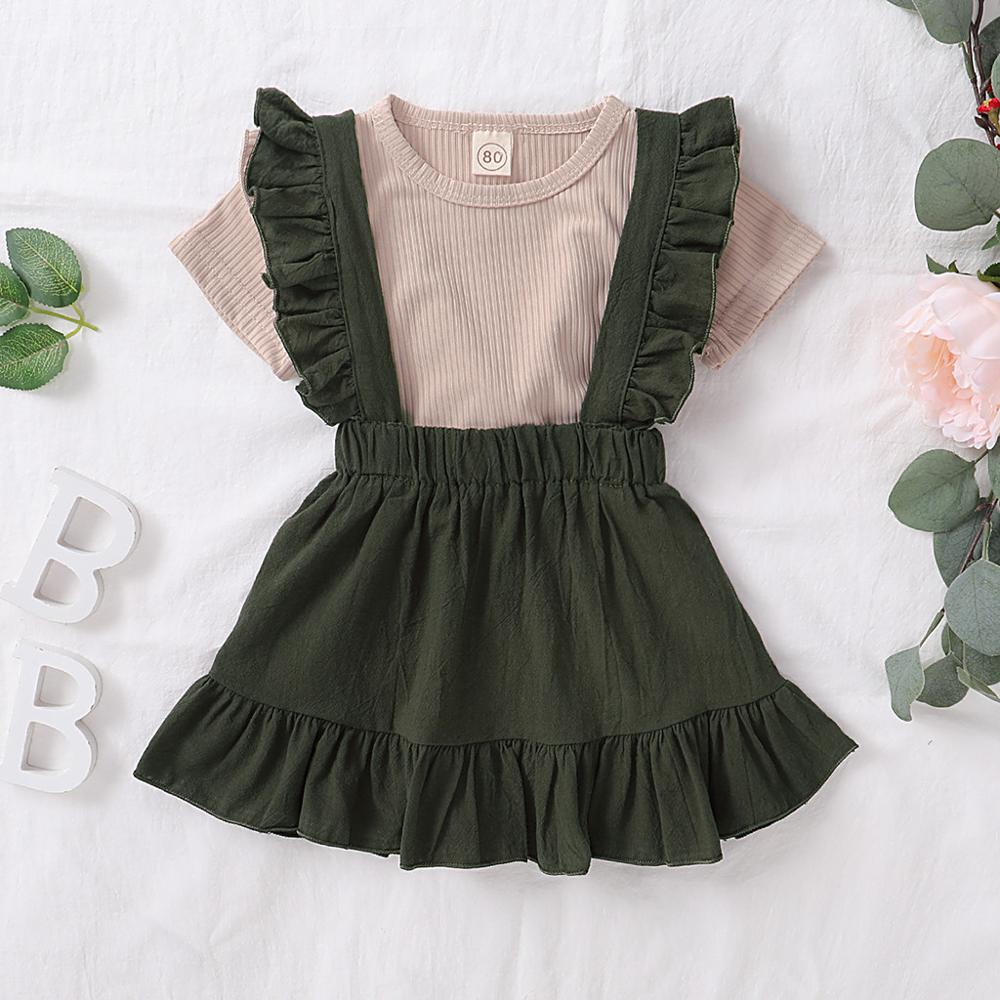 Summer Clothes For Toddler Baby Girls Short Sleeve Solid T-shirt Tops+Ruffle Sling Skirts Outfits Set 0-4Y Baby Child Clothes Y3