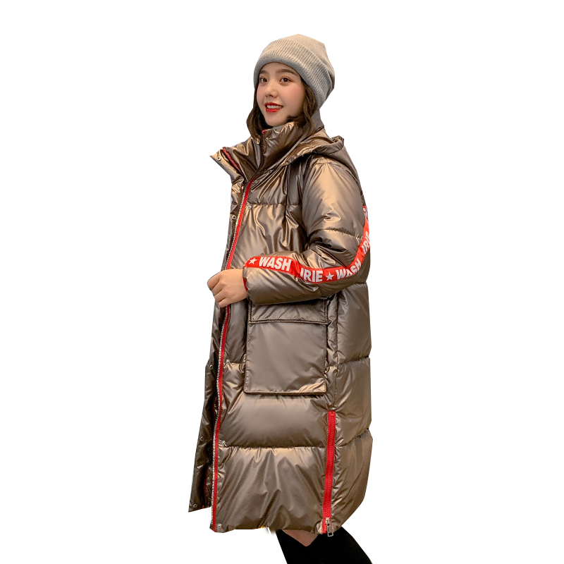 Women Long Hooded Glossy Oversize Winter Down Coat Female Slim Jacket Thick Warm Cotton Padded Wadded Parkas Big Pocket