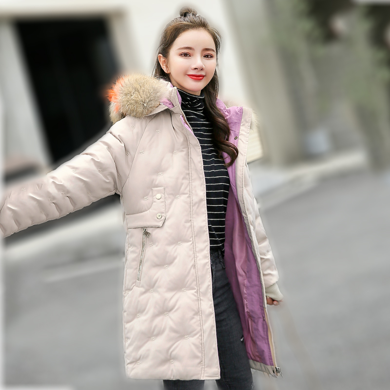 Women&39;s Jacket Large Size 2019 Female Long Hooded Fur Collar Parka_A6_7