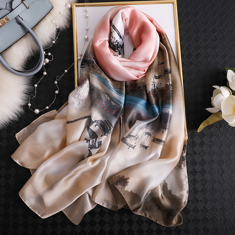 2020 Brand Designer Shawls And Wraps Vintage Style Ink And Wash Pattern Silk Scarf Women Lady Christmas Gift Long Foulard Hijab