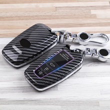 Carbon fiber ABS Car Remote Key Case Fob Cover For Toyota Camry Corolla C-HR CHR Prado RAV4 Prius 2018 2019 Keychain Accessory