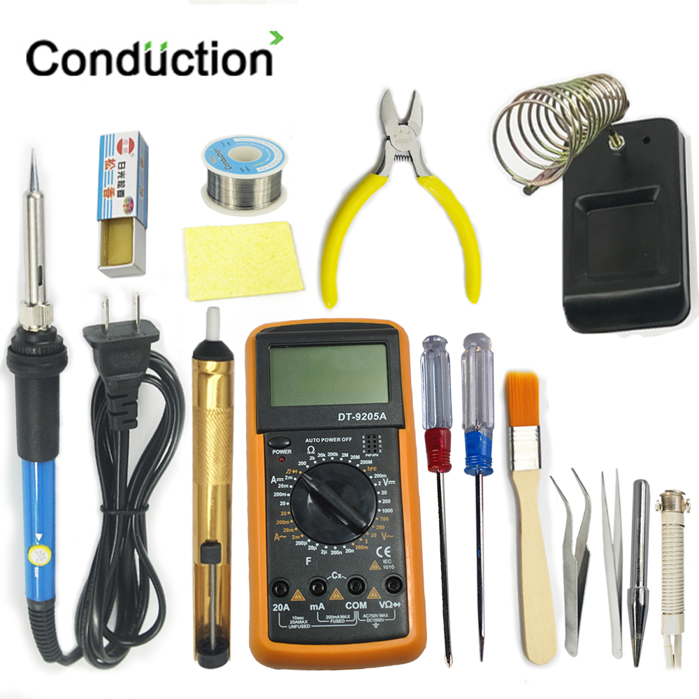 14PCS 110V/220V Electric Soldering Iron Kit 30/40/60W Soldering Iron Kit With Multimeter Desoldering Pump Welding Tool