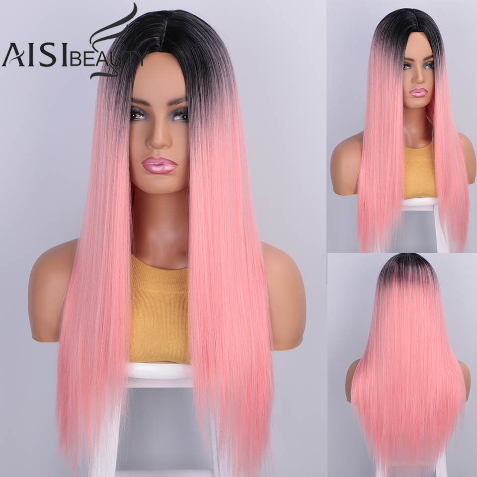 AISIBEAUTY Synthetic Women's Wig Omber Blonde Long Straight Wig High Temperature Fiber Natural  Hair For African American Women