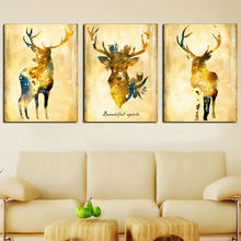 Абстрактная Картина на холсте с изображением золотого оленя